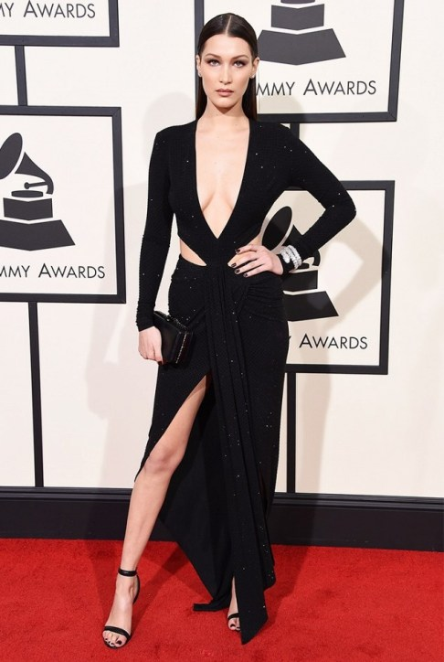 Bella Hadid Black Alexandre Vauthier Deep V gown