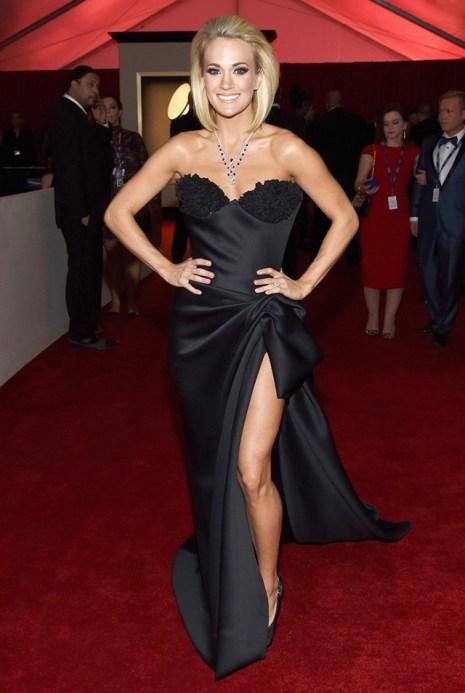 Carrie Underwood black strapless Nicolas Jebran gown