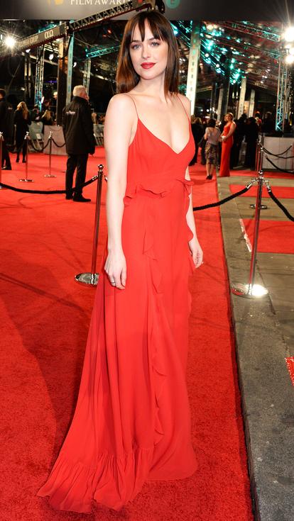 Dakota Johnson red ruffle Dior gown 2016