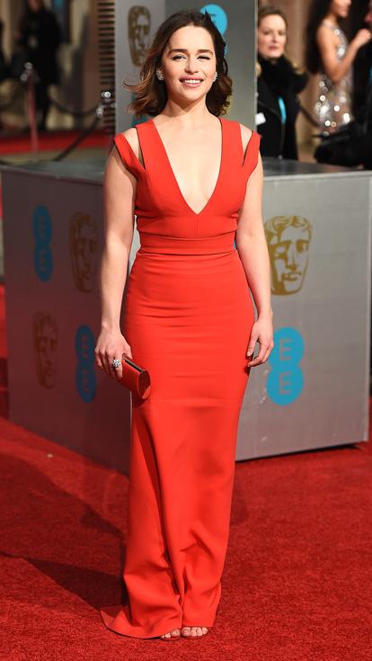 Emilia Clarke red deep v Victoria Beckham gown