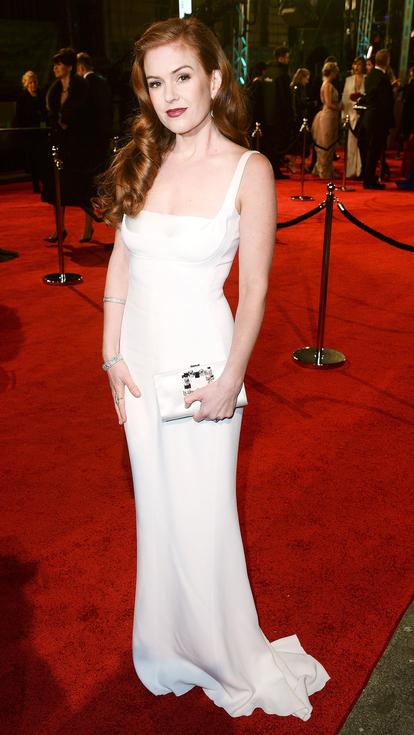 Isla Fisher white Stella McCartney Gown BAFTAs red aarpet