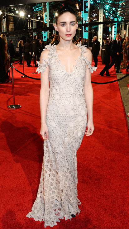 Rooney Mara in lace overlay Givenchy gown red carpet