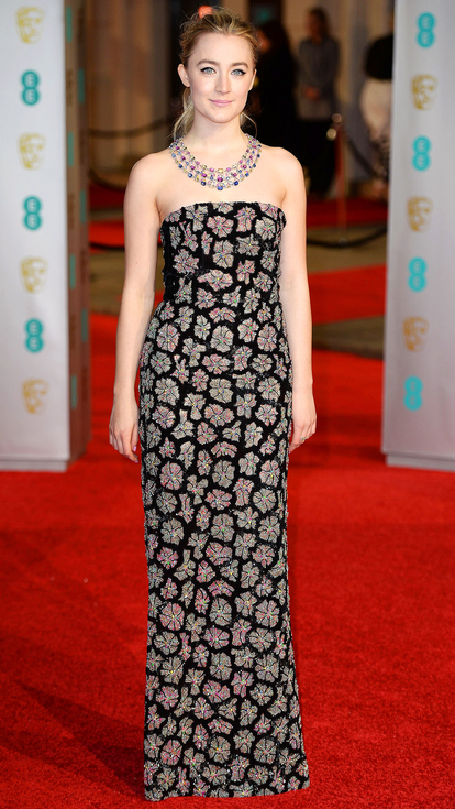 Saoirse Ronan strapless Burberry gown red carpet