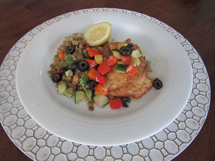 Pangea Modern Mediterranean Diet chicken and lentil salad