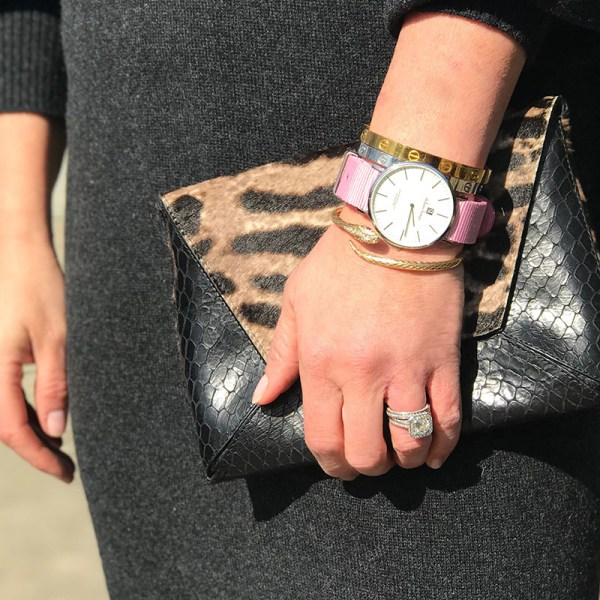 Stefano Lungo Changes Watch with pink band and tiger print handbag