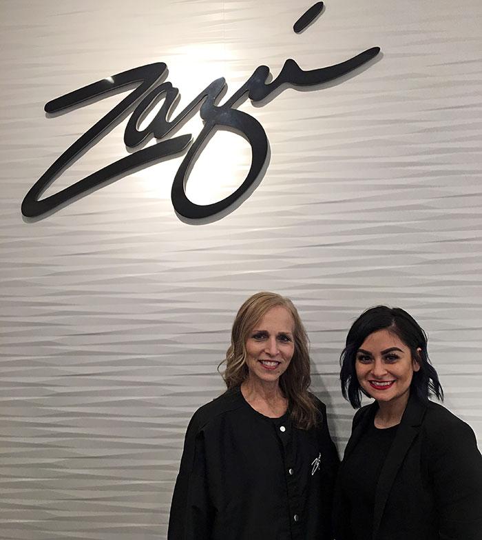 Carol Calaci fountain of 30 with Jess Vargas at Zazu Salon Chicago