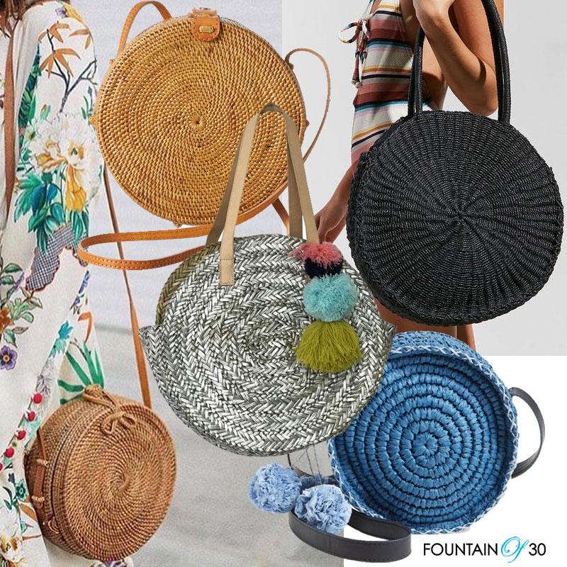 round straw handbags