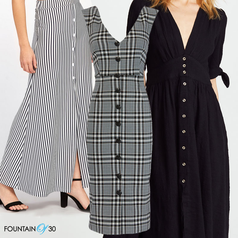 button front skirts and dresses