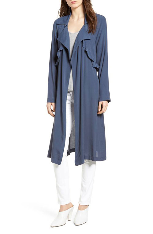 Jessica Alba look for less navy duster jacket