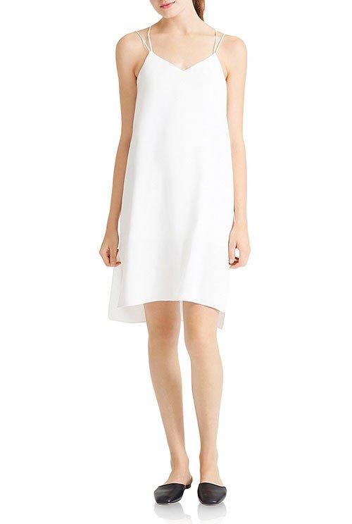 Jessica Alba look for less white slip dress