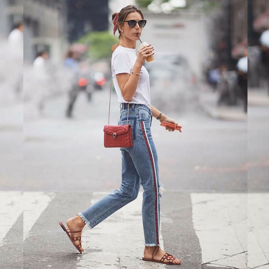 Alessandra Ambrosio detailed denim look for less