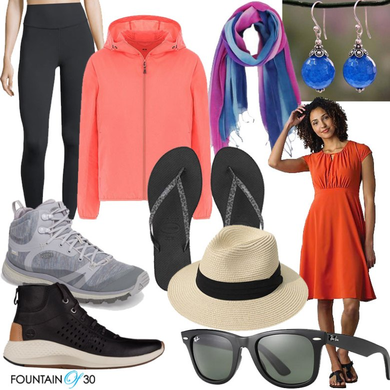 What To Pack For Adventure Travel parka leggings sneakers