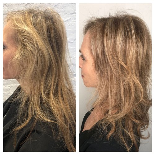before and after, hair highlights, woman over 40 fountainof30