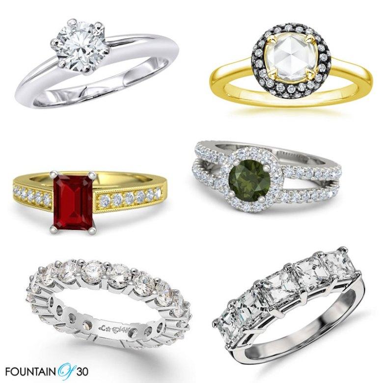 Engagement Rings 6 styles diamond, ruby, gemstones, tourmaline, platinum, gold