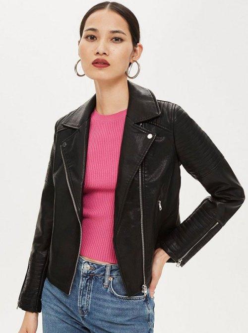 Kristen Bell celebrity look for less Topshop black Biker Jacket