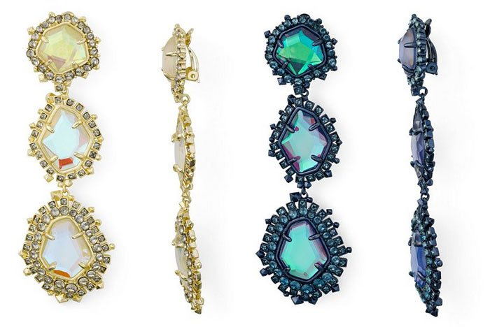 Change Your Hair Color warm gold and cool blue dangle crystak earrings