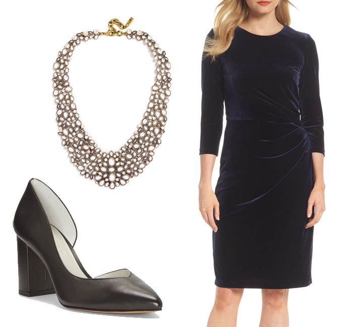 wear for Thanksgiving navy velvet dress, dorsay pumps, pearl bib necklace