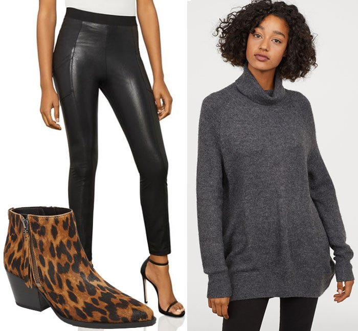 wear for Thanksgiving black leather legging, grey oversize sweater, leopard booties