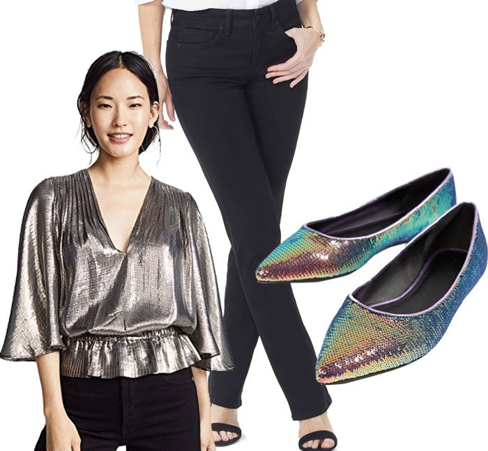 wear for Thanksgiving shiny top, black jeans, sequin flats