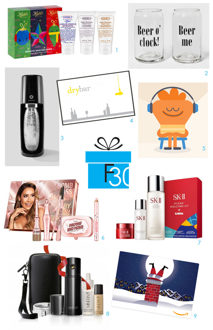 last-minute holiday gift ideas hand cream, beer glasses, gift cards, beauty gifts