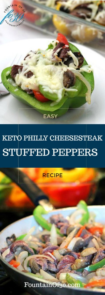 Cheesesteak stuffed peppers in glass pan with single serving green pepper on white plate and cooking the stuffing with steak peppers onion in a white fry pan.