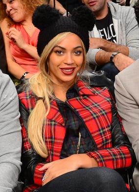 Beyonce wearing red tartan Karl Lagerfeld