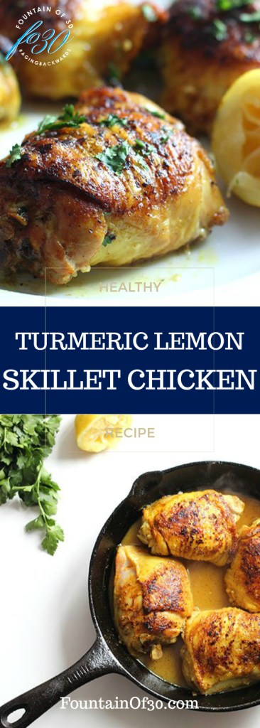 Turmeric Lemon Chicken in a Skillet