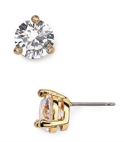 faux diamond stud earrings gold posts