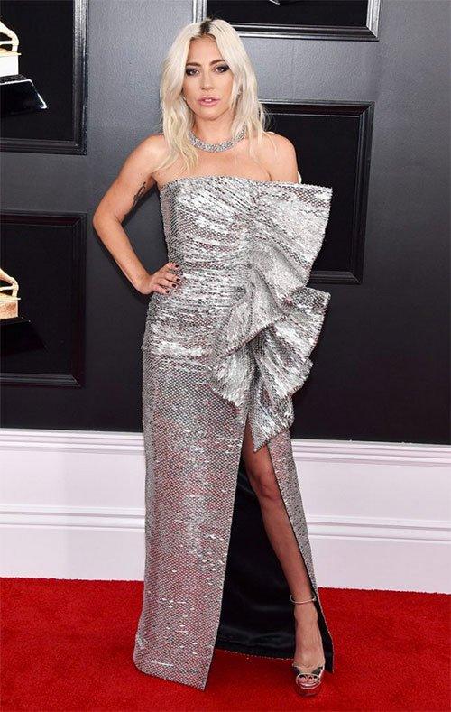 Lady Gaga in Celine grammy awards 2019 fashion silver strapless side ruffle gown