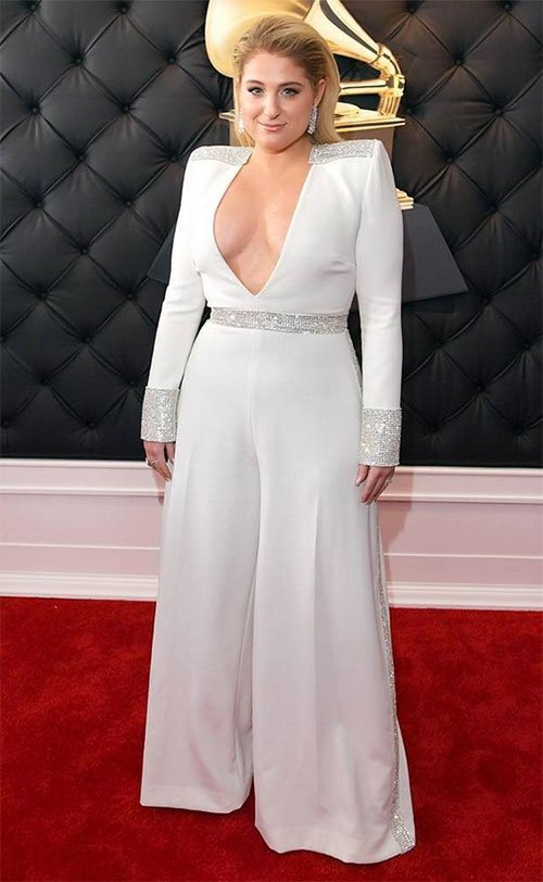 Meghan Trainor in white Christian Siriano jumpsuit on the red carpet