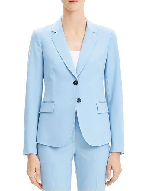light blue 2 button blazer anmd pants on female model