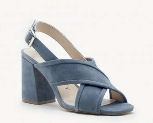 light blue suede cross front block heel sandal