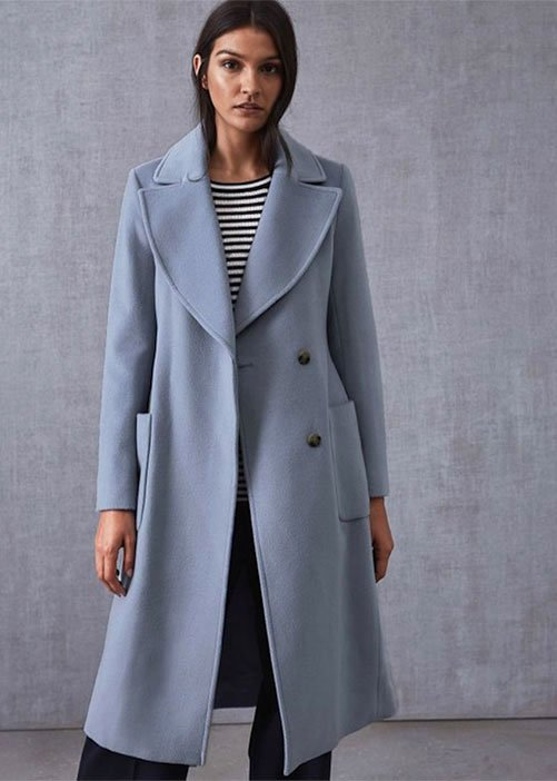 light blue wool Reiaa overcoat on brunette model stripe top