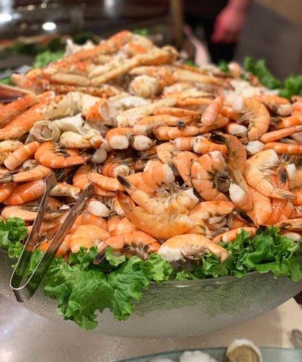 platter of shrimp and Alaskan King crab legs