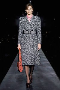 fall 2019 fashion trend Strong Shoulders givenchy black white belted coat