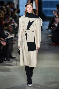fall 2019 fashion trend Strong Shoulders whit and black colorblock coat