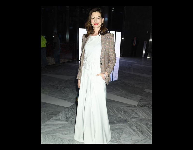 anne hatahway celebrity style for less white jumpsuit plaid jacket