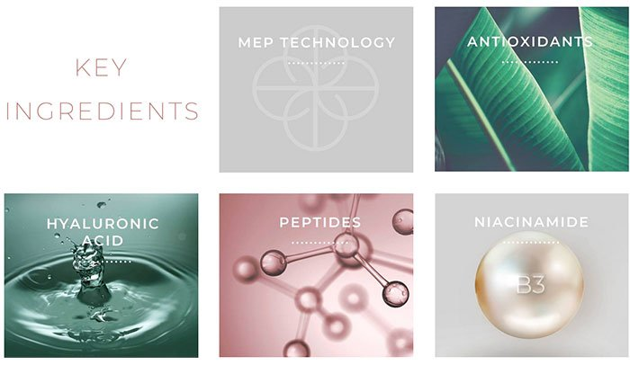 emepelle key ingredients MEP Technology hyaluronic acid peptides niacinamide