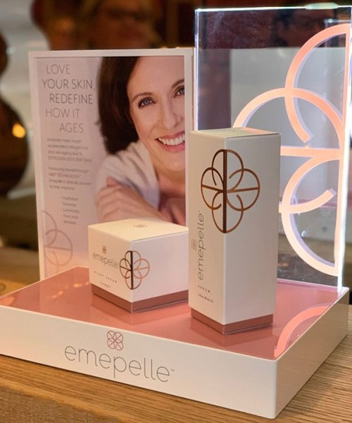 emepelle anti-agng skincare line table display