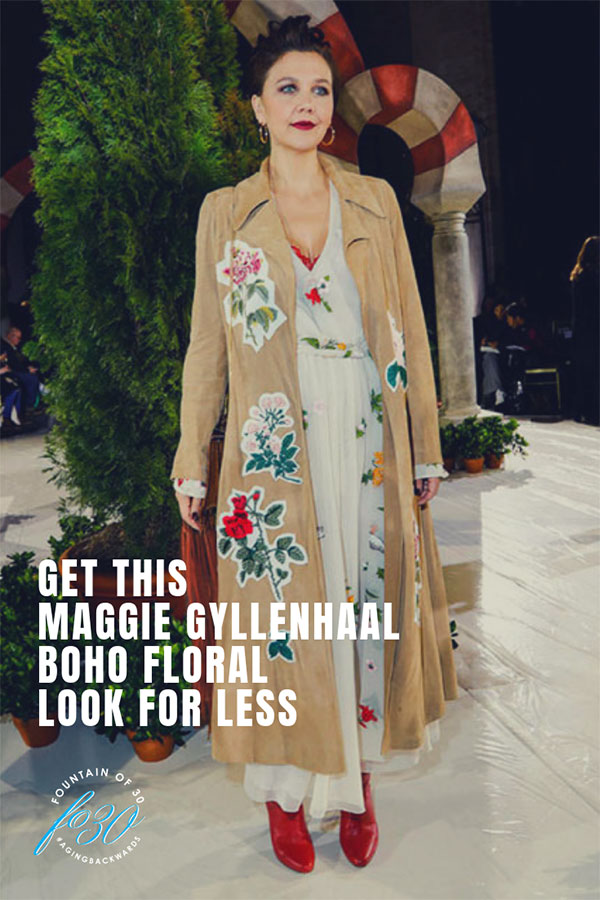 Maggie Gyllenhaal Boho Floral Look for Less