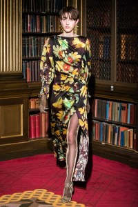 fall 2019 trend oversize florals peter pilotto yellow orange green black gown