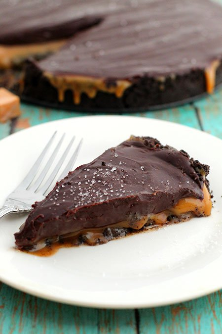 Salted Caramel Chocolate Pie slice on a plate