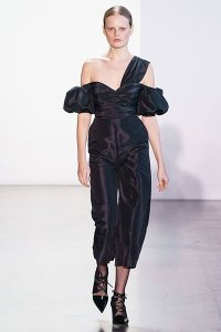fall 19 fashion Asymmetric Off Shoulder self-porttait black jumpsuit