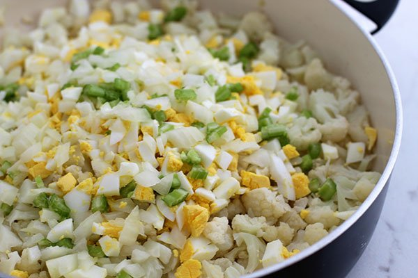 cauliflower potato salad recipe chopped vegetables