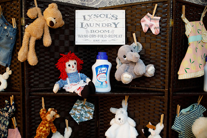 Lysol Laundry Sanitizer stuffed animal toys on a screen