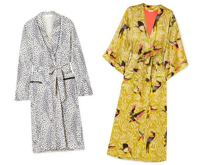 french lingerie robes snow leopard print and yellow bird print