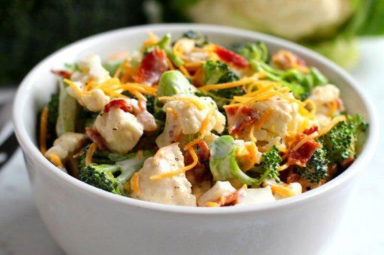 Low Carb Broccoli Cauliflower Salad To Die For