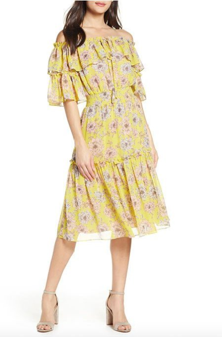 Sofia Vergara look Chelea28 Floral Off The Shoulder Tiered Dress fountainof30