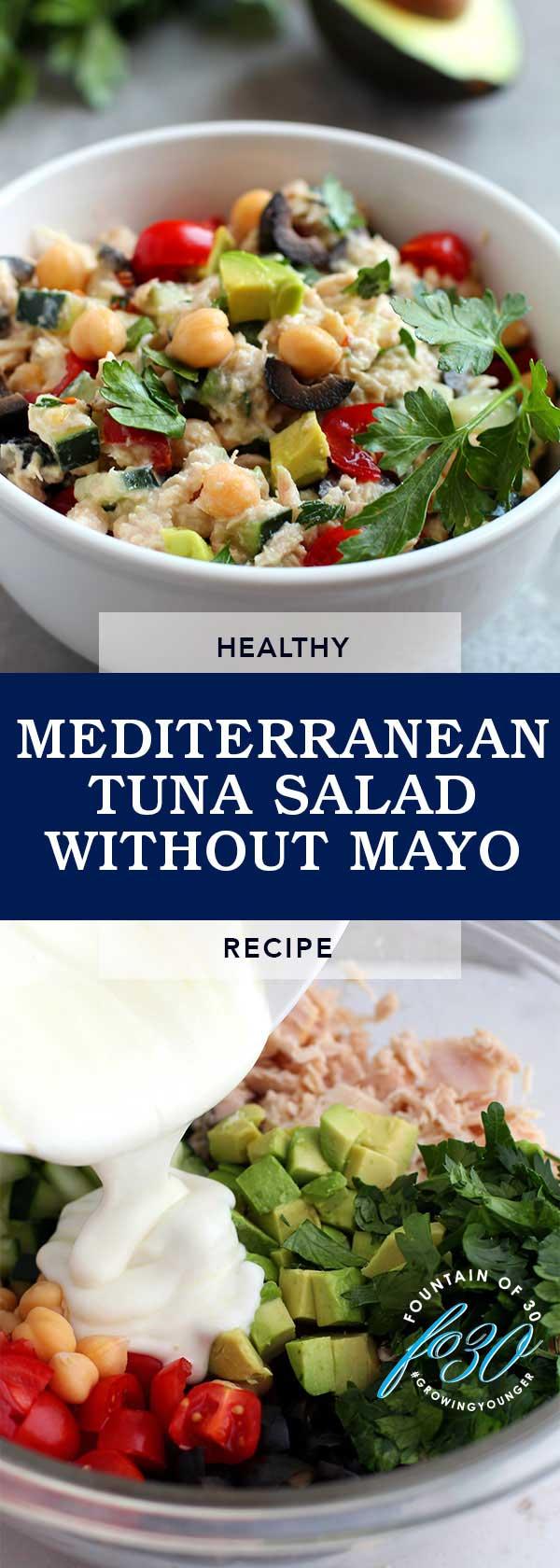 Healthy Mediterranean Tuna Salad without Mayo FountainOf30