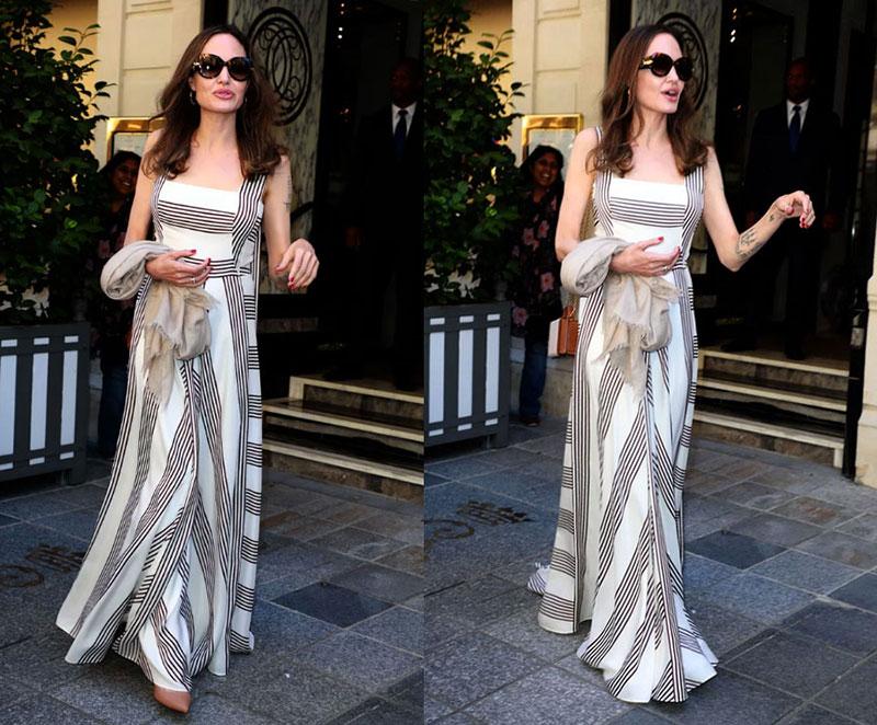 Angelina Jolie Striped Dress